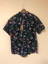 FREE PLANET Men's M Christmas Surfing Santa Hawaiian Aloha Shirt NEW WITH TAGS!