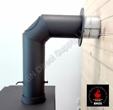 High Quality Stove Flue Pipe (150mm) 6 inch  Rigid Black Mat Complete Kit +Flap