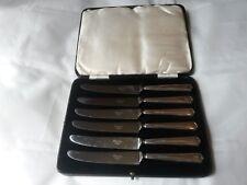 Set of Six Sterling Silver Handles Fruit / Butter Knifes WILLIAM YATES Ltd 1938