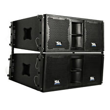 Pair of Premium Passive 2x10 Line Array Speakers with Dual Compression Drivers