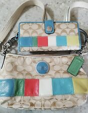 Coach Signature patchwork Stripe Demi Shoulder Bag Crossbody F17425 with wallet