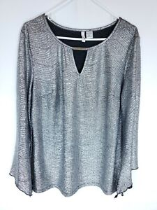 Sami & Jo Womens Size XL Silver Metallic Top Long Bell Sleeve Blouse