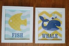 """Lot of two 12"""" x 14"""" framed under water theme wall décor for kids Room"""
