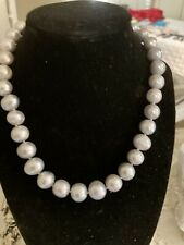 Authentic Grey South Sea Round 14 Mm Pearl Necklace