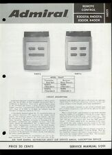 Rare Factory Admiral R300TA R400TA R300R R400R TV Remote Control Service Manual