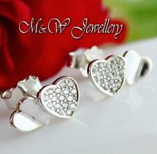 925 Sterling Silver Rhodium Plated Stud Double Heart with Clear Zirconia