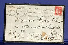 FRANCE BERGERAC VINS DE MONBAZILLAC DECES    sur lettre  1936 FA68