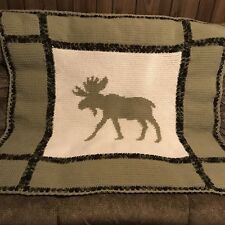 Moose Silhouette Crochet Afghan Blanket Throw