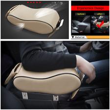 Beige Dust-proof Leather Car Armrest Pad Cover Auto Center Console Cushion Mat