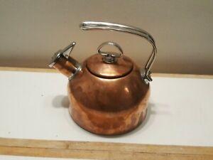 Chantal Classic Copper 1.8 Qt Tea Kettle Two-Tone Harmonica Whistle Patina