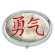 Chinese Symbol for Courage Metal Oval Pill Case Box