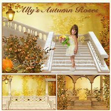 DIGITAL PHOTOGRAPHY MAGICAL AUTUMN ROSES STUDIO BACKDROPS CHILDREN BACKGROUNDS