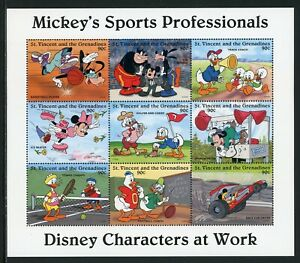 St. Vincent Scott #2250 MNH S/S Mickey's Sports Professionals DISNEY CV$10+