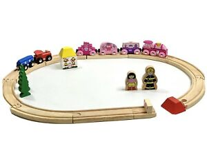 Bigjigs Rail Wooden Princess Train, Red Blue Engine, People, House And Tracks