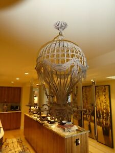 VINTAGE WHIMSICAL  WROUGHT IRON HOT AIR BALLOON CHANDELIER