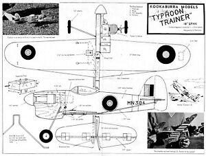 Kookaburra Hawker Typhoon all sheet control line model plan