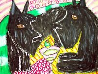 SCOTTISH TERRIER Drinking a Martini Vintage Dog Art 8 x 10 Signed Giclee Print