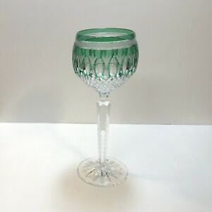 1 Ajka Clarendon Ed. II Green Cut To Clear Crystal Wine Glass Hock
