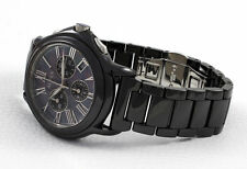 Luxury Alfex swiss made Black Ceramic Chronograph Watch Mother of Pearl Face