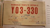 OLD VINTAGE QSL HAM RADIO CARD POSTCARD, ROMANIA 1958