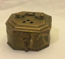 Vintage Small Brass Hinged Lidded Trinket Box Made in India
