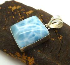 Dominican Blue Larimar Gemstone 925 Sterling Silver Pendant Square Handmade
