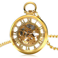 Gifts Vintage Classic Mechanical Skeleton Pocket Watch Luxury Roman Numerals