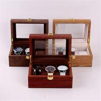 3 Slots Luxury Wooden Watch Box Display Case Organizer Jewelry Storage  ~