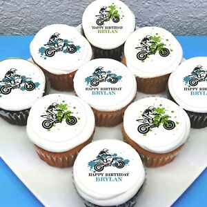 "Dirt Bike Edible Icing Cupcake Toppers - 2"" - PRE-CUT - Sheet of 15"
