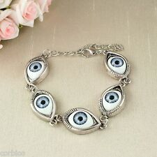 B1 Quirky Silver Tone Steam Punk Eyes Bracelet - Gift Pouch