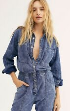 Free People Denim Coverall Slouchy Elastic Waist Snap Front Stitch Detail M NEW