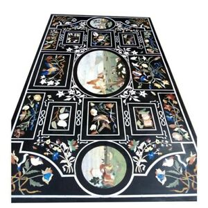 """62"""" x 36"""" Marble dining Table Top Pietra dura work Inlay Furniture Decor"""
