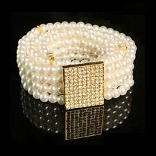 Fashion White Pearl Cluster Elastic Waist Belt Crystal Buckle Waistband Cincher