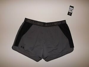 UNDER ARMOUR 2 Tone Gray Black Performance Running Shorts Size XL NWT Womens