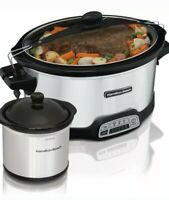 HAMILTON BEACH 7QT STAY OR GO PROGRAMMABLE SLOW COOKER W/ DIPPER 33477 *DM