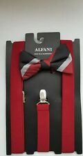 NEW ALFANI  PRE-TIE BOW TIE & FITS ALL CLIP-END SUSPENDERS $65 Burgundy Red