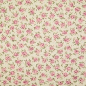 100% Cotton Poplin Rose & Hubble Fabric PINK DITSY ROSE Floral Material Florence