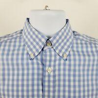 Charles Tyrwhitt Classic Fit Non Iron Mens Blue Check L/S Button Shirt Sz Medium