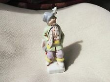 UNUSUAL VINTAGE FIGURINE MUSICIAN CELLO BASS JAUNTY HAT LOVELY COLOUR LOOKS OLD