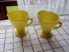 "Creamers 2 Bright Yellow Hazel Atlas Platonite Ovide Handled 4'"" Tall and Across"