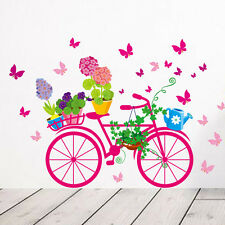 Bicycle Flower Girl Removable Vinyl Wall Sticker Decal Mural Art DIY Home Decor