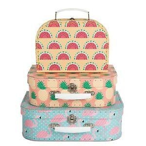 Sass & Belle Tropical Suitcase storage boxes - Flamingo,Pineapple - Set of 3 BN