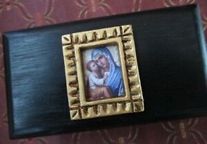 A BEAUTIFUL SMALL WOODEN BOX WITH MADONNA IKON DESIGN ~ FOR RELICS ~ INCENSE &c