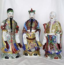 "Chinese Three Wise Men of Health FUK LUK SAU Porcelain Statues 24"" Tall  (00759)"