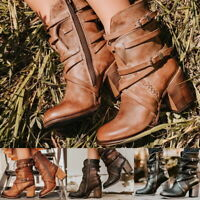 Womens Ankle Boots Ladies Mid Block Heel Lace Up strap buckle Zip Booties Shoes