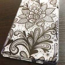 For Samsung Galaxy Note 8 - HARD TPU RUBBER CASE COVER BLACK CLEAR HENNA FLOWERS