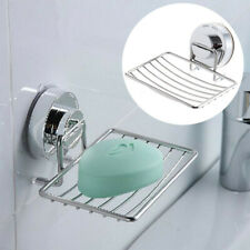 SOAP DISH HOLDER TRAY STAINLESS STEEL STRONG SUCTION BATHROOM SHOWER RACK HOME