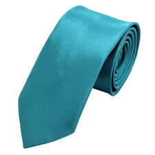 Mens Wedding Slim Tie Solid Color Narrow Skinny Thin Plain Satin Party Necktie