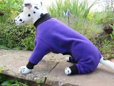 "Purple with Black collar. Polar Fleece Onsie/Dog Coat/Pajamas. 3XL- 30"" L. 42"" W"