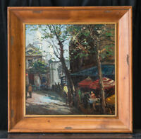 French/Russian 'Local Street' Scene Oil on Canvas Constantine Kluge (1912-2003)